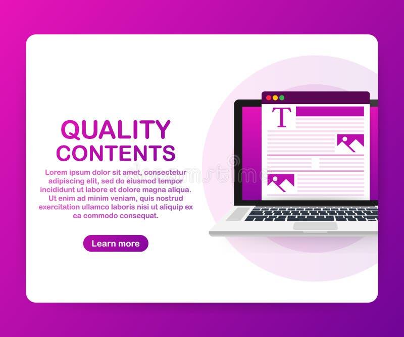 Contenido de la calidad Carácter del Blogger Optimización de SEO Contenido para el ejemplo creativo del vector del poste del blog stock de ilustración