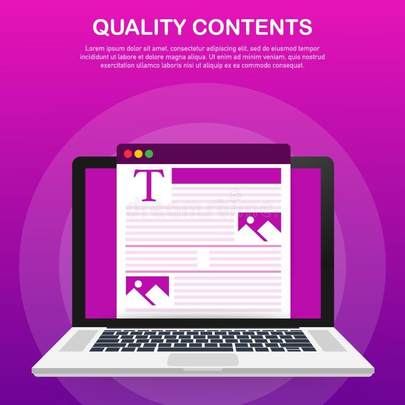 Contenido de la calidad Carácter del Blogger Optimización de SEO Contenido para el ejemplo creativo del vector del poste del blog libre illustration
