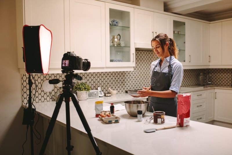 Contenido de registración para el vlog de la comida foto de archivo libre de regalías
