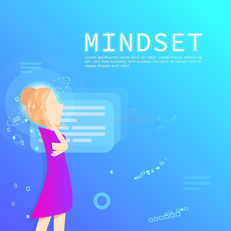 Contenido del márketing de negocio, tecnología digital del modo de pensar, carácter plano mínimo del diseño, del alquiler y del t libre illustration