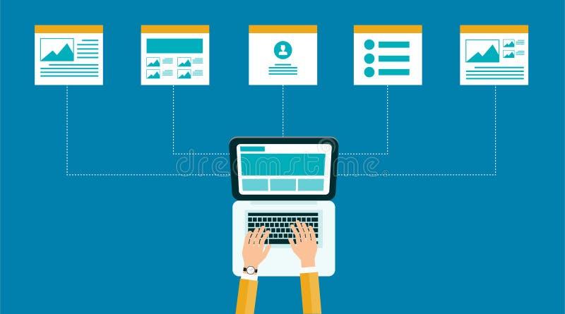 Contenido en línea del negocio estructura y disposición del diseño web libre illustration