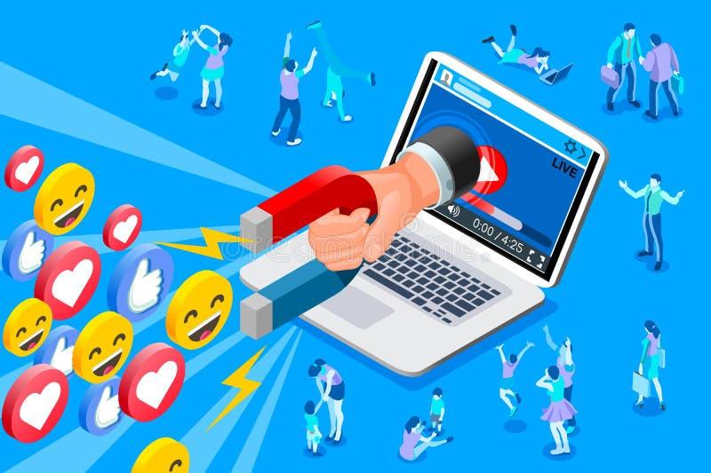 Contenido social del influencer y de los medios stock de ilustración