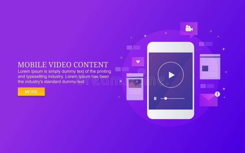 Contenido video para el márketing móvil, vídeo digital para la audiencia social de los medios ilustración del vector