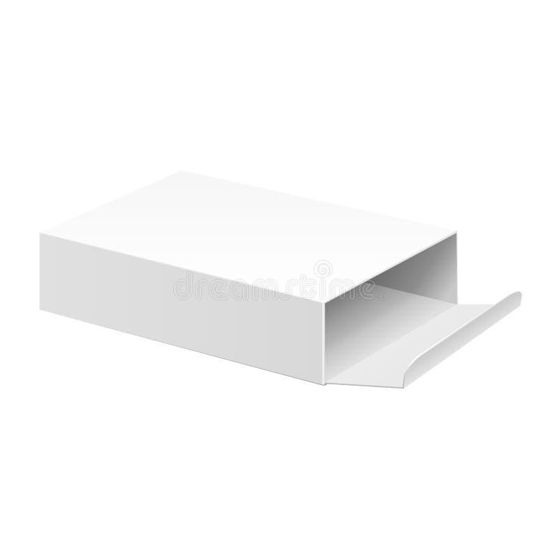 Contenitore aperto bianco di pacchetto del cartone del prodotto illustrazione di stock
