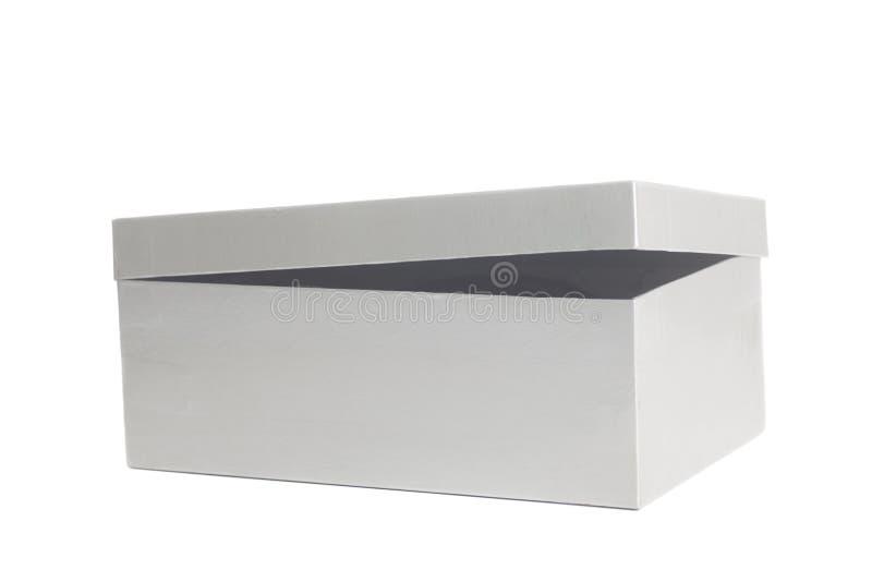 Contenitore aperto della scatola di grey in bianco fotografia stock