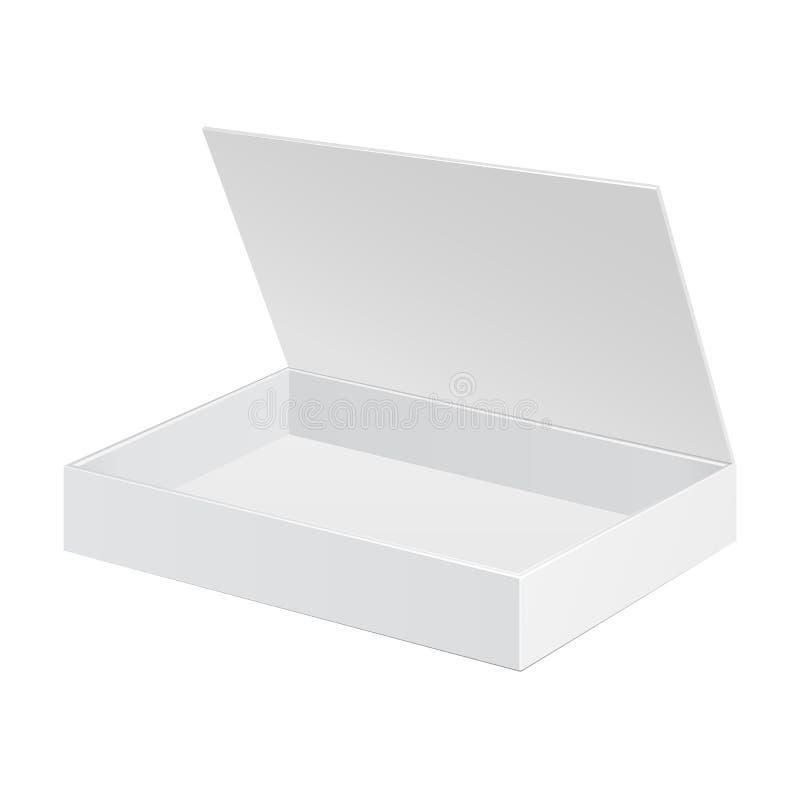 Contenitore bianco aperto di pacchetto del cartone Regalo Candy Su fondo bianco isolato Ready per il vostro disegno illustrazione vettoriale