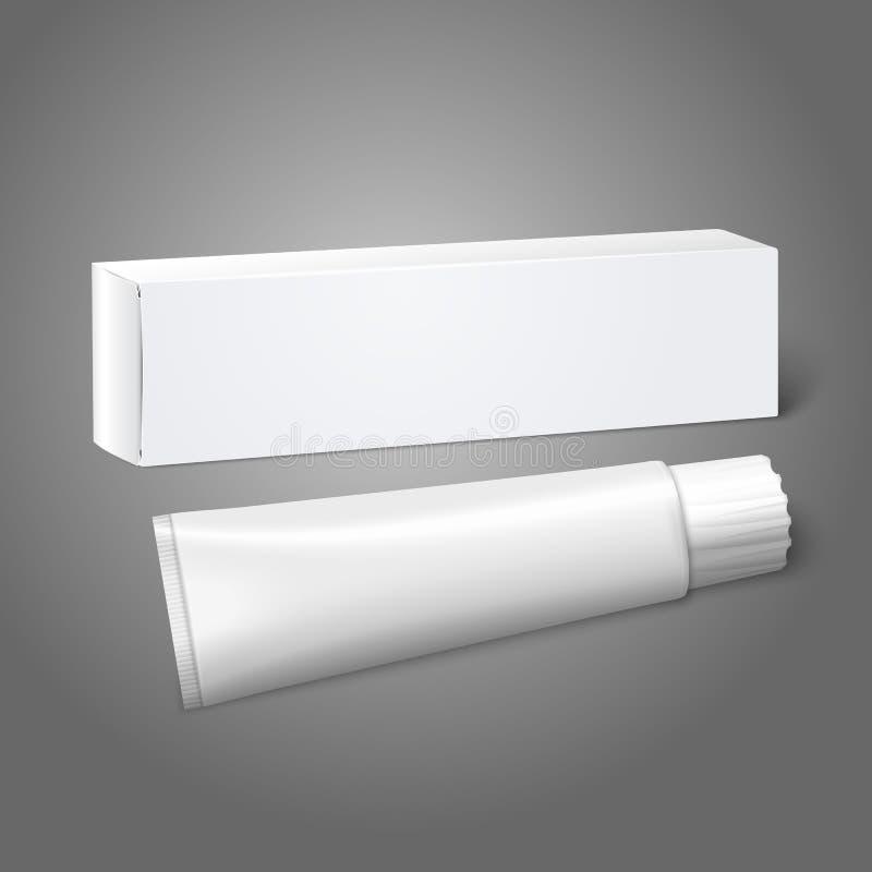 Contenitore bianco realistico di pacchetto della carta in bianco con il tubo illustrazione vettoriale