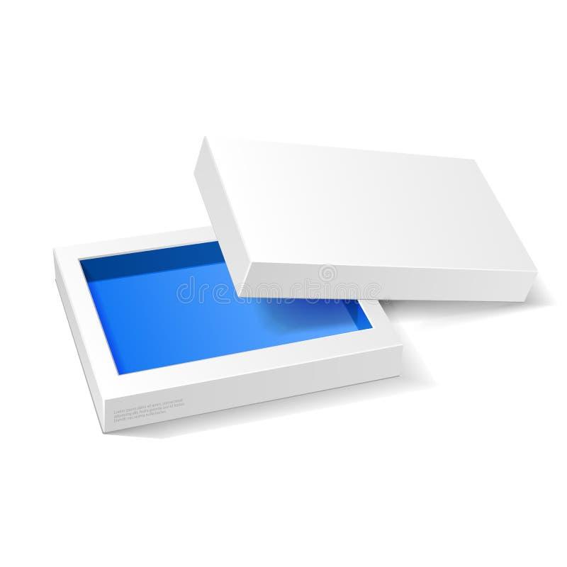 Contenitore blu bianco aperto di pacchetto del cartone Regalo Candy Su fondo bianco isolato Ready per il vostro disegno Imballagg illustrazione di stock
