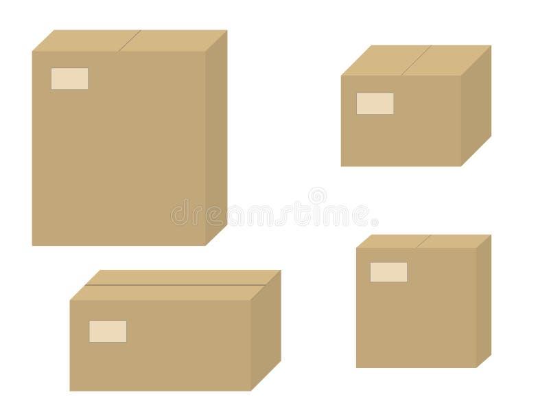 Contenitore chiuso di cartone delle scatole di cartone marroni stabilite di vettore immagini stock libere da diritti