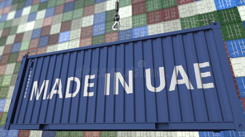 Contenitore con FATTO nel titolo dei UAE Gli Emirati Arabi Uniti importano o esportano la rappresentazione relativa 3D illustrazione di stock