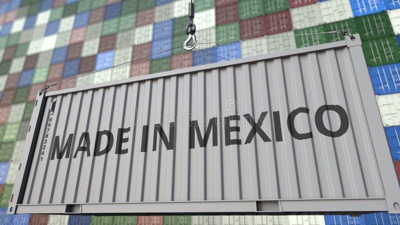 Contenitore con FATTO nel titolo del MESSICO Rappresentazione relativa messicana 3D dell'esportazione o dell'importazione royalty illustrazione gratis