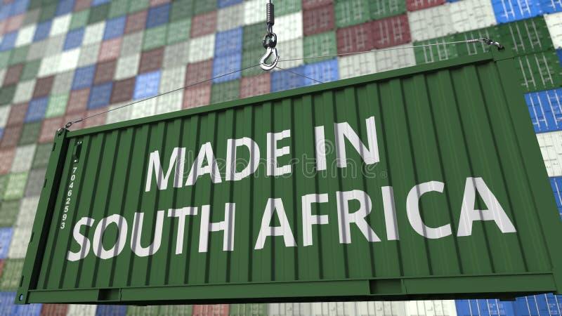 Contenitore con FATTO nel titolo del SUDAFRICA Rappresentazione relativa 3D dell'esportazione o dell'importazione illustrazione di stock