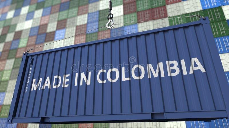 Contenitore con FATTO nel titolo della COLOMBIA Rappresentazione relativa colombiana 3D dell'esportazione o dell'importazione illustrazione vettoriale