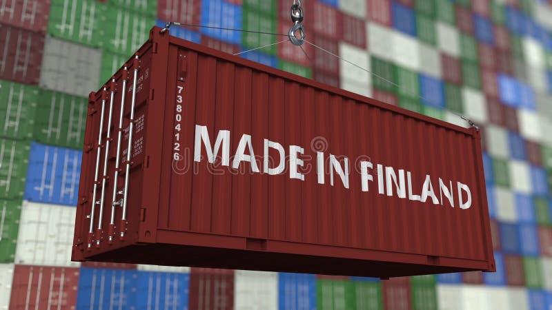 Contenitore con fatto nel titolo della Finlandia Rappresentazione relativa finlandese 3D dell'esportazione o dell'importazione illustrazione vettoriale