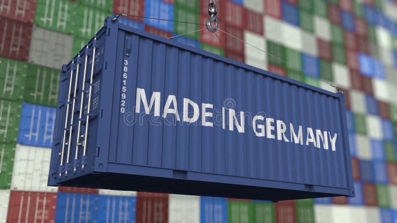 Contenitore con FATTO nel titolo della GERMANIA Rappresentazione relativa tedesca 3D dell'esportazione o dell'importazione illustrazione vettoriale