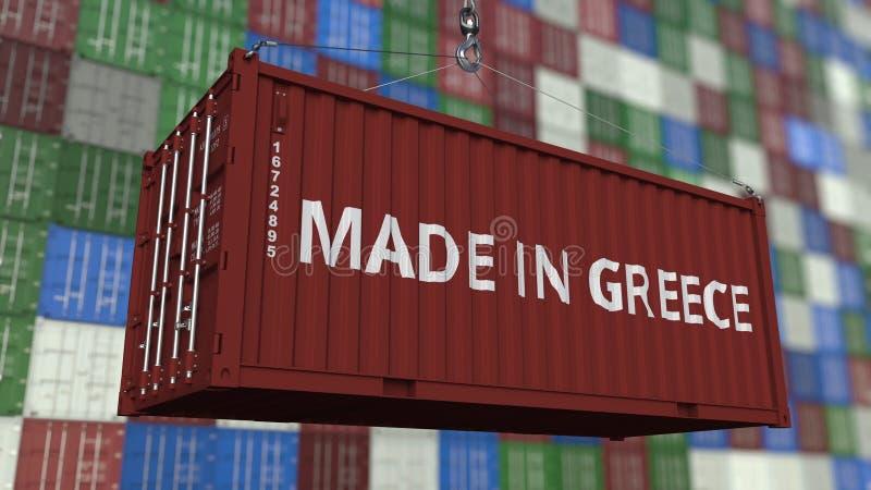 Contenitore con FATTO nel titolo della GRECIA Rappresentazione relativa greca 3D dell'esportazione o dell'importazione illustrazione di stock