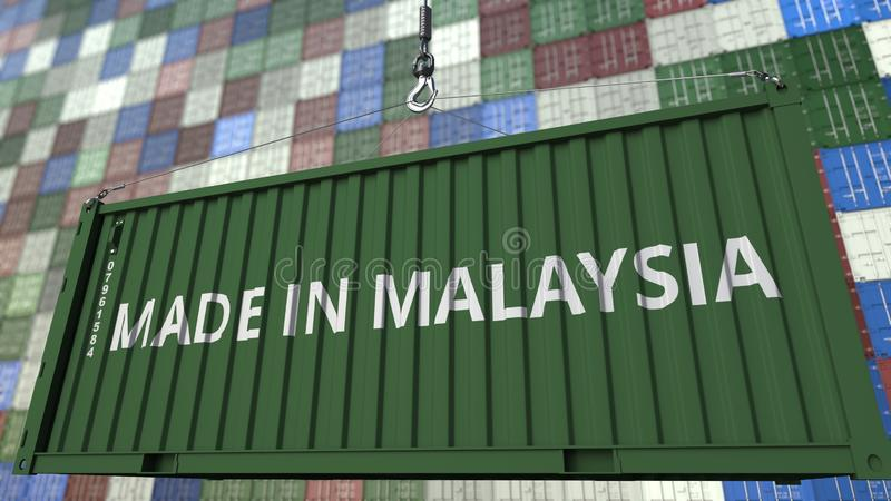 Contenitore con FATTO nel titolo della MALESIA Rappresentazione relativa malese 3D dell'esportazione o dell'importazione royalty illustrazione gratis