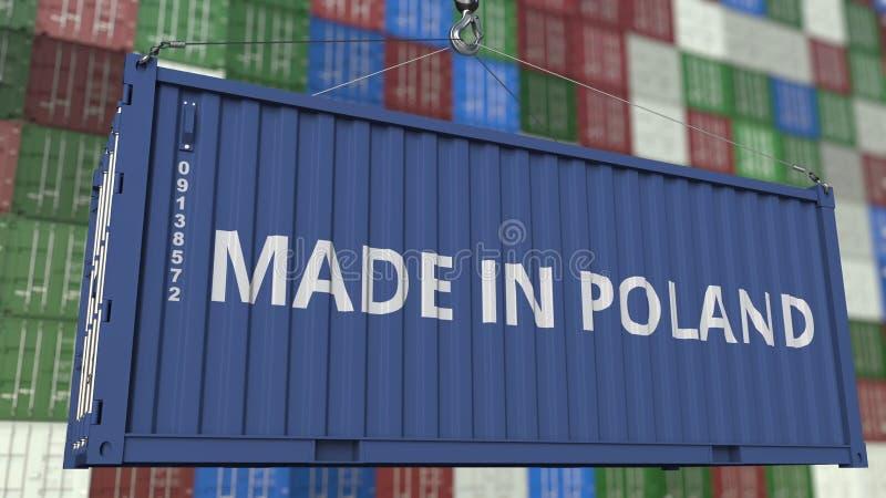 Contenitore con fatto nel titolo della Polonia Rappresentazione relativa polacca 3D dell'esportazione o dell'importazione illustrazione di stock
