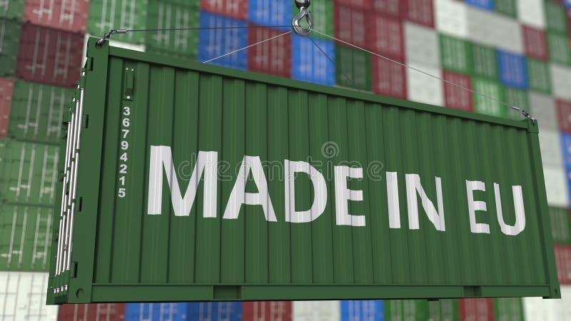 Contenitore con FATTO nel titolo di UE Rappresentazione relativa 3D dell'importazione o dell'esportazione dell'Unione Europea illustrazione vettoriale