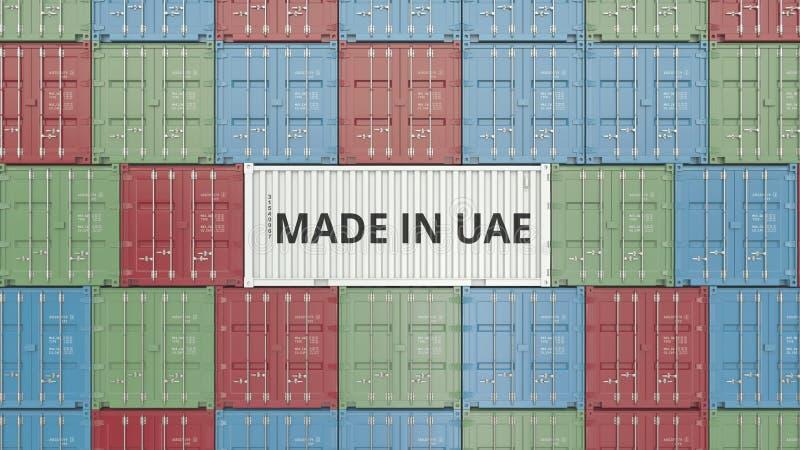 Contenitore con FATTO IN testo dei UAE Gli Emirati Arabi Uniti importano o esportano la rappresentazione relativa 3D illustrazione vettoriale