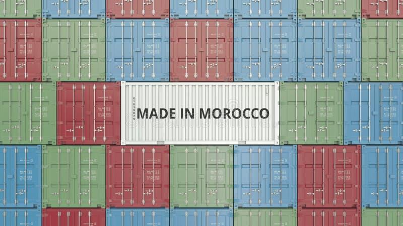 Contenitore con FATTO IN testo del MAROCCO Rappresentazione relativa marocchina 3D dell'esportazione o dell'importazione illustrazione di stock