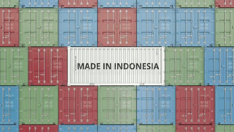 Contenitore con FATTO IN testo dell'INDONESIA Rappresentazione relativa indonesiana 3D dell'esportazione o dell'importazione illustrazione vettoriale