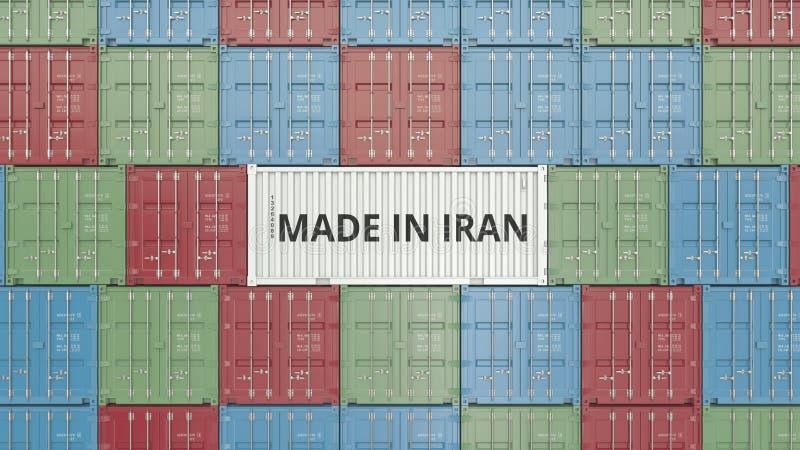 Contenitore con FATTO IN testo dell'IRAN Rappresentazione relativa iraniana 3D dell'esportazione o dell'importazione royalty illustrazione gratis