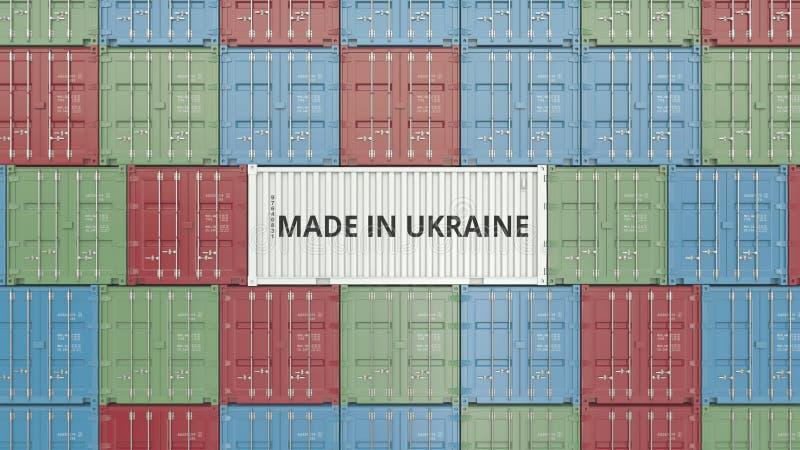 Contenitore con FATTO IN testo dell'UCRAINA Rappresentazione relativa ucraina 3D dell'esportazione o dell'importazione royalty illustrazione gratis