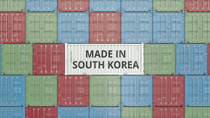 Contenitore con FATTO IN testo della COREA DEL SUD Rappresentazione relativa coreana 3D dell'esportazione o dell'importazione illustrazione di stock