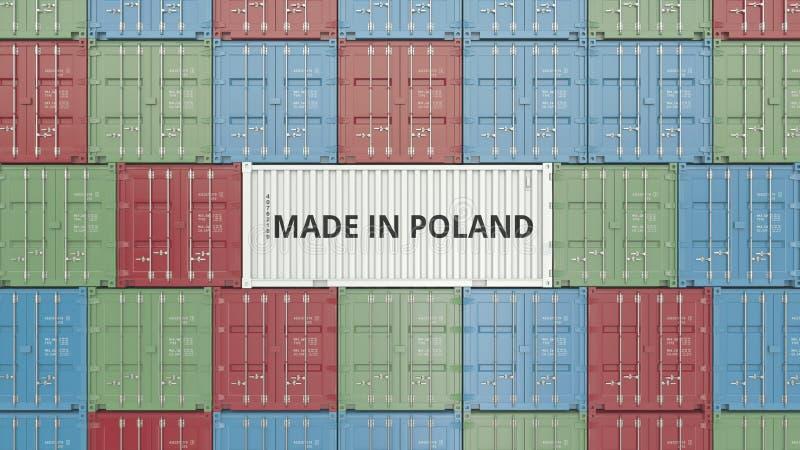 Contenitore con FATTO IN testo della POLONIA Rappresentazione relativa polacca 3D dell'esportazione o dell'importazione illustrazione vettoriale