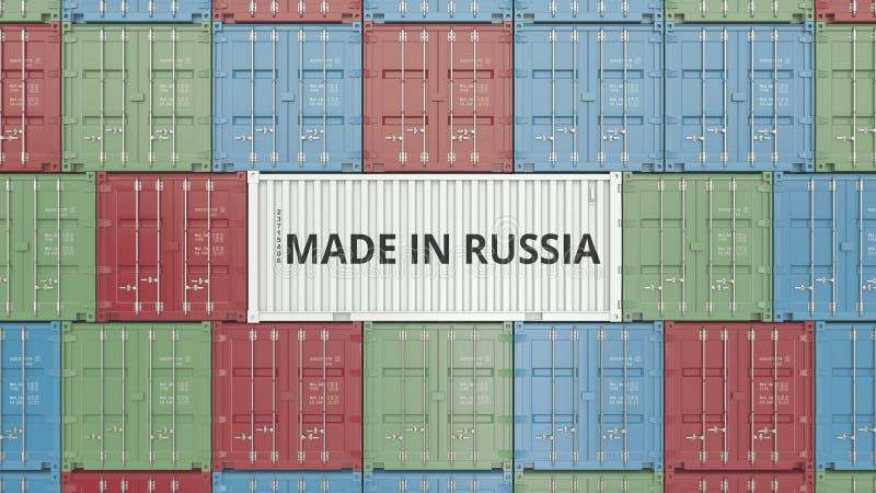 Contenitore con FATTO IN testo della RUSSIA Rappresentazione relativa russa 3D dell'esportazione o dell'importazione illustrazione di stock