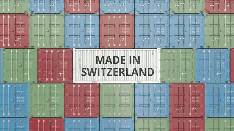 Contenitore con FATTO IN testo della SVIZZERA Gli svizzeri importano o esportano la rappresentazione relativa 3D royalty illustrazione gratis
