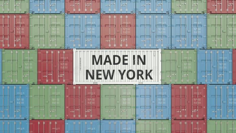 Contenitore con FATTO IN testo di NEW YORK Rappresentazione relativa 3D dell'esportazione o dell'importazione royalty illustrazione gratis