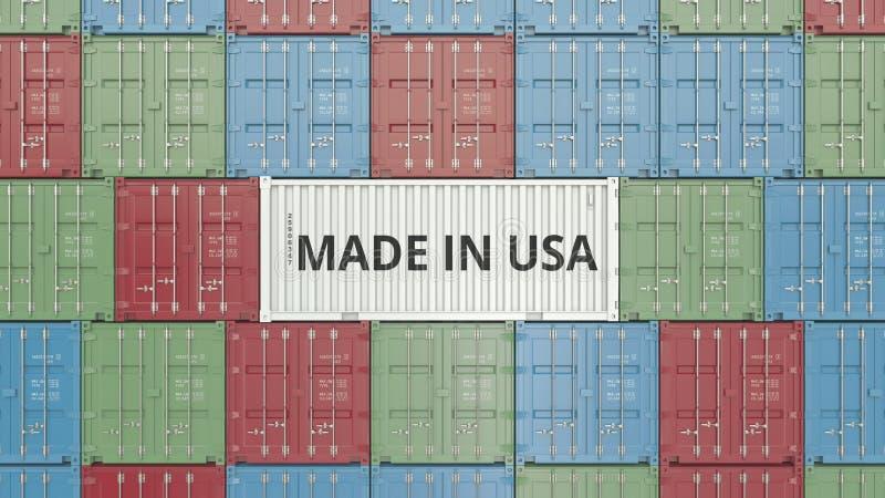 Contenitore con FATTO IN testo di U.S.A. Rappresentazione relativa americana 3D dell'esportazione o dell'importazione illustrazione di stock