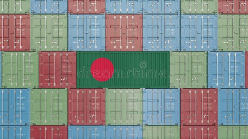 Contenitore con la bandiera del Bangladesh Rappresentazione relativa del Bangladesh 3D dell'esportazione o dell'importazione illustrazione vettoriale