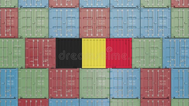 Contenitore con la bandiera del Belgio Rappresentazione relativa belga 3D dell'esportazione o dell'importazione illustrazione vettoriale