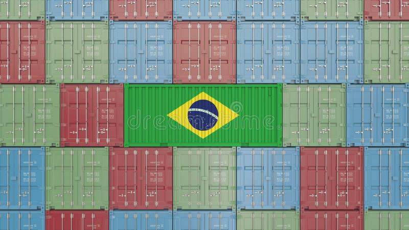 Contenitore con la bandiera del Brasile Rappresentazione relativa brasiliana 3D dell'esportazione o dell'importazione royalty illustrazione gratis