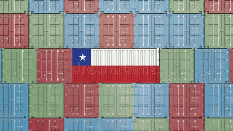 Contenitore con la bandiera del Cile Rappresentazione relativa cilena 3D dell'esportazione o dell'importazione royalty illustrazione gratis