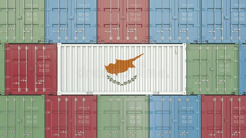 Contenitore con la bandiera del Cipro Le merci cipriote hanno collegato la rappresentazione concettuale 3D illustrazione vettoriale