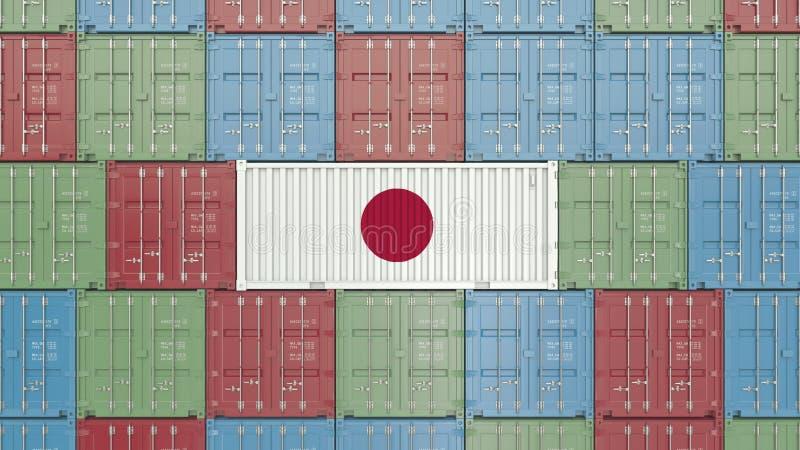 Contenitore con la bandiera del Giappone I giapponesi importano o esportano la rappresentazione relativa 3D illustrazione di stock