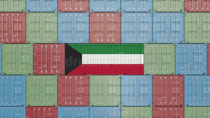 Contenitore con la bandiera del Kuwait Rappresentazione relativa kuwaitiana 3D dell'esportazione o dell'importazione royalty illustrazione gratis