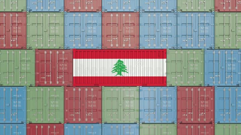 Contenitore con la bandiera del Libano Rappresentazione relativa libanese 3D dell'esportazione o dell'importazione illustrazione di stock