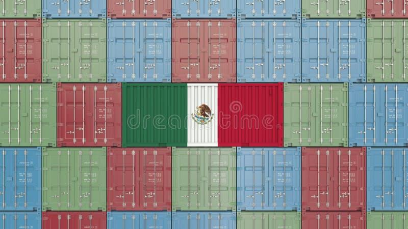 Contenitore con la bandiera del Messico Rappresentazione relativa messicana 3D dell'esportazione o dell'importazione illustrazione di stock