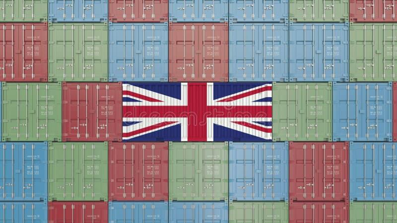 Contenitore con la bandiera del Regno Unito Britannici importano o esportano la rappresentazione relativa 3D illustrazione vettoriale