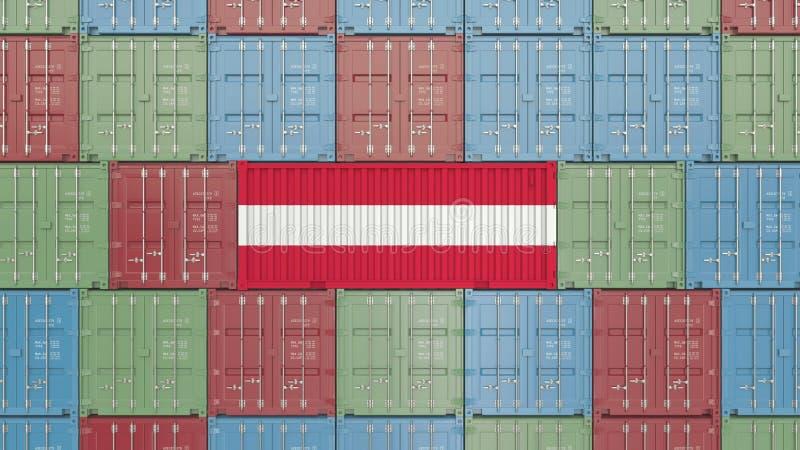 Contenitore con la bandiera dell'Austria Rappresentazione relativa austriaca 3D dell'esportazione o dell'importazione royalty illustrazione gratis