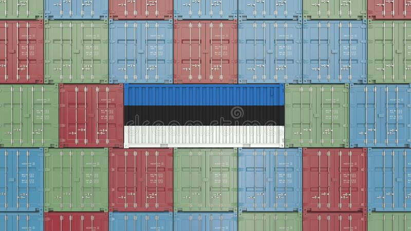 Contenitore con la bandiera dell'Estonia Le merci estoni hanno collegato la rappresentazione concettuale 3D royalty illustrazione gratis