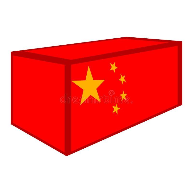 Contenitore con la bandiera della Cina illustrazione vettoriale