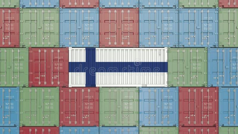 Contenitore con la bandiera della Finlandia Rappresentazione relativa finlandese 3D dell'esportazione o dell'importazione illustrazione di stock