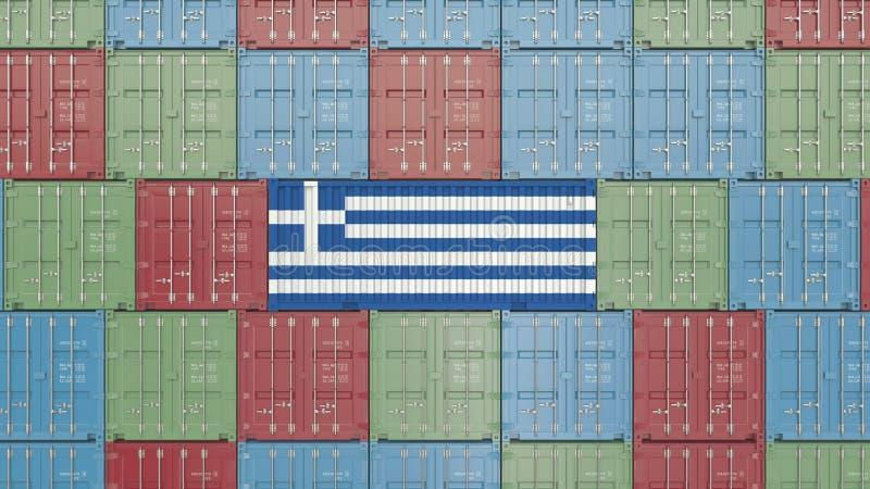 Contenitore con la bandiera della Grecia Rappresentazione relativa greca 3D dell'esportazione o dell'importazione royalty illustrazione gratis