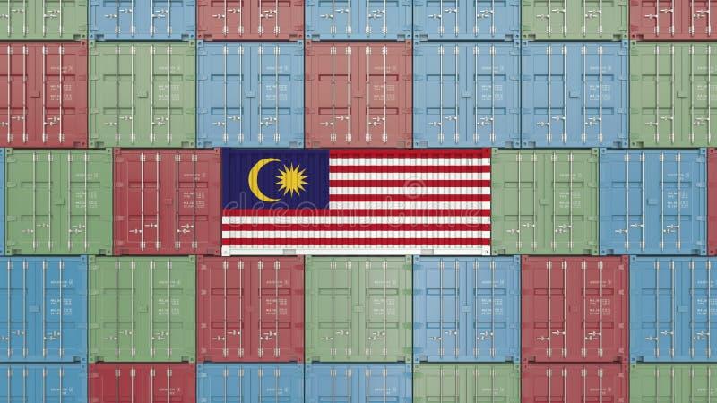 Contenitore con la bandiera della Malesia Rappresentazione relativa malese 3D dell'esportazione o dell'importazione illustrazione vettoriale